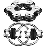 Gejoy Fidget Toy Set Include Six Roller Chain Fidget and Key Flippy Chain Stress Reducers for Autism Stress and Anxiety Relief (Black)