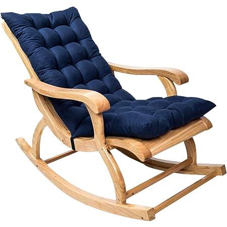 Coussin de Chaise berçante, Coussin de Chaise Longue à Dossier Haut, Coussin Fauteuil Jardin epaissi, Rocking Chair Coussin 3D, Coussin pour Chaise à Bascule, Fauteuil (Bleu Marine, 1Pcs)