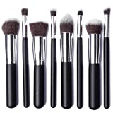 XCSOURCE® Professional Makeup Brush Set 8PCS Eyebrow Shadow Blush Cosmetic Foundation Concealer Brush Tool Kit (Black Handle + Silver Tube)