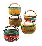 Heavenly Hands Craft Shopping Basket 14' - 16' Handmade Ghana BOLGA Africa - FAIR Trade (Colors Vary) 1 EA