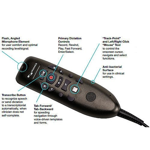 Nuance PowerMic III Handheld USB Dictation Microphone with Cradle and 9 Foot Cord for Dragon Professional Group and Dragon Legal Group Only (1-10)
