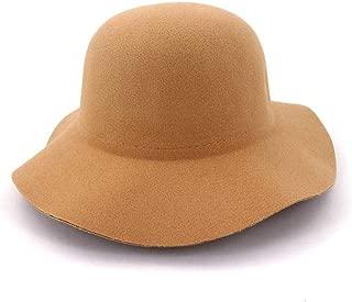 MNMZX Top Hat - Women Lady Retro Wide Brim Floppy Panama Hat Belt Buckle Wool Elegant and Beautiful (Color : Black)