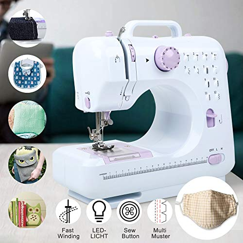 Triclicks Mini Portable Electric Sewing Machine 12 Stitch Patterns with Foot Pedal Adjustable Double Speed Small Crafting Mending Basic Machine Overlock Sewing Machine for Beginner Household Home