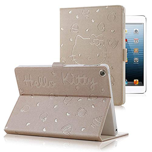 Hello Kitty Pu Leather Soft Case voor Ipad 9.7 2017 2018 A1822 A1893 Transformer Smart Cover Funda Tablet Folding case Champagne