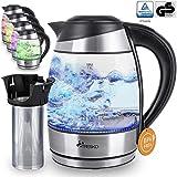 TRESKO Glas Wasserkocher 1,8L Edelstahl mit Teesieb und Kalkfilter | LED Innenbeleuchtung |...