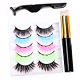 NAISIER Ombre Magnetic Eyeliner and Eyelashes Kit, 5 Pairs Magnetic Eyeliner for Ombre Magnetic Eyelashes Set, With Reusable Lashes [Prue color]