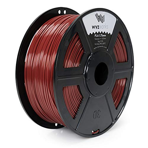 WYZworks PLA 1.75mm [ Maroon ] Premium Thermoplastic Polylactic Acid 3D Printer Filament - Dimensional Accuracy +/- 0.05mm 1kg / 2.2lb + [ Multiple Color Options Available ]