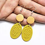 KUANGLANG Big Geometric Earrings Korean Gold Long Acrylic Heart Square Round Wooden Earrings Vintage Dangle Drop Earrings Gifts