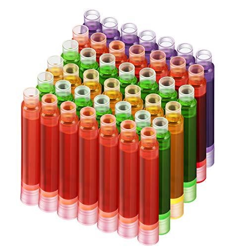100 Piezas Cartuchos de Tinta de Pluma Estilográfica Cartucho de Recarga de Tinta Pluma Colorida Recarga de Tinta Rojo Verde Rosa Púrpura Amarillo, 5 Colores Diámetro de Agujero de 3,4 mm