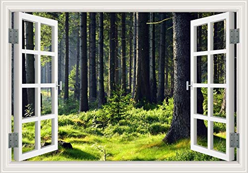 3D-Fenster natürliche vier Jahreszeiten Morgen Landschaft Wald Sonnenaufgang Sonnenschein Wald Grasland Himmelgrüner Baum Kunst Aufkleber Wandaufkleber PVC Poster Wandbild Schlafzimmer Wohnkultur
