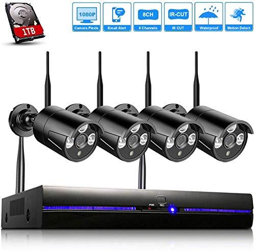 H.265 Kit Videosorveglianza Wifi 1080P con 1TB HDD, Telecamera Sorveglianza Wireless da Esterno, 4 x IP66 Impermeabile CCTV Camera, Visione Notturna, Sensore di Movimento Nero 4CH NVR Sistemi- REIGY