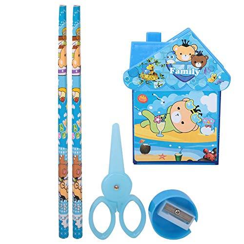 Lindo portalápices, portalápices con forma de casa pequeña, organizador de bolígrafos de dibujos animados con regla, sacapuntas, 2 lápices para niños(Azul)