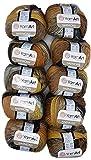 YarnArt Harmony - Ovillo de lana para tejer (10 ovillos de 500 g, 60% lana en color negro, gris, beige y ocre A13)