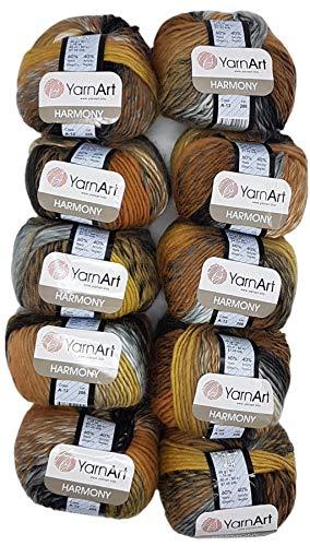 YarnArt Harmony Lot de 10 pelotes de laine à tricoter Multicolore avec dégradé de couleur, 500 g avec 60 % de laine (noir, gris, beige, ocre A13)