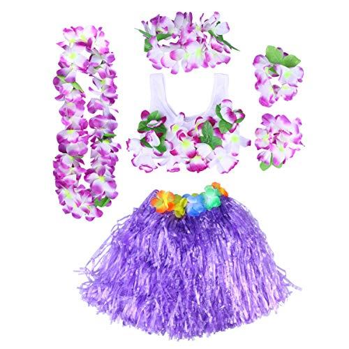 PRETYZOOM Hawaii Tropische Hula Gras Dans Rok Bloem Leis Armbanden Hoofdband Ketting Bh Set Hawaiian Party Kostuum en Luau Outfit 40Cm 6St