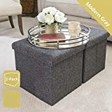 Almand Foldable Storage Ottoman Footrest Toy Box Coffee Table Stool, 2-Pack, 11.8x11.8x11.8 inch