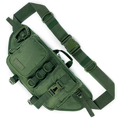 Fitdom Tactical Sling Bag for Men. Made from Heavy Duty Nylon & Built Tough for Outdoor. Also Use As Backpack, Fanny Waist Pack, Crossbody, Shoulder or Chest Bag for Travel Cycling (Military Green)