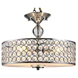 HOMCOM Chandelier Pendant Light Lamp with Crystal Ball Pole, Drum Shaped Shade, Ceiling-Connecting Metal Base, Silver