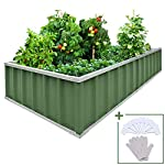 """KING BIRD Extra-Thick 2-Ply Reinforced Card Frame Raised Garden Bed Galvanized Steel Metal Planter Kit Box Green 68""""x 36""""x 12"""" with 8pcs T-Types Tag & 2 Pairs of Gloves (Grey) 23 【Extra-thick 2-Ply Reinforcement】 Double card frames on the two sides of sheet make the garden bed more durably and stably; never worry about its distorted or collapsed and it presents much more beautiful design; 【Advanced Installation Design】 Patent of this new installation design gives you a superbly convenient installation procedure; you just need piece together the card frame and sheet; a firm garden bed will present to you; 【Multilayer Galvanized Paint】 Upgraded multilayer galvanized paint efficiently prevents rust and continues to beauty; also never worry about that pest and rain damage the wood garden bed; galvanized steel garden bed provides a lasting use and no discoloration;"""