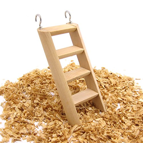 Alfie Pet - Donald Wood Cage Hanging Ladder for Mouse, Chinchilla, Rat, Gerbil and Dwarf Hamster