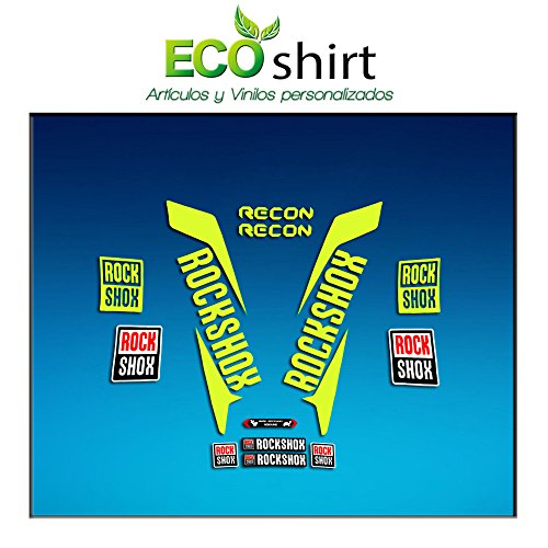 Ecoshirt, DF-Z4EH-S96T, Aufkleber Fork Rock Shox Recon 2017 Am150 Aufkleber Decals Aufkleber Gabel, Neongelb 029