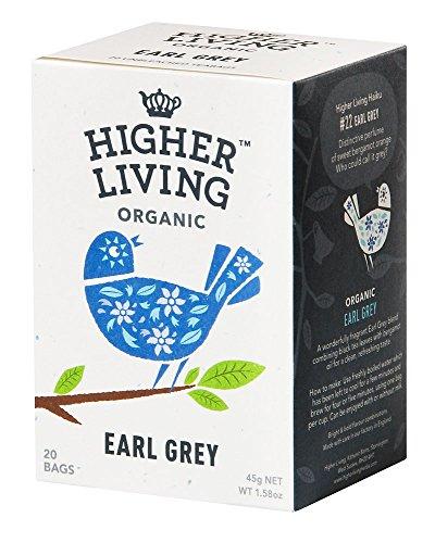 Higher Living Earl Grey Bio Schwarztee, 20 Teebeutel, 1er Pack (1 x 45 g)