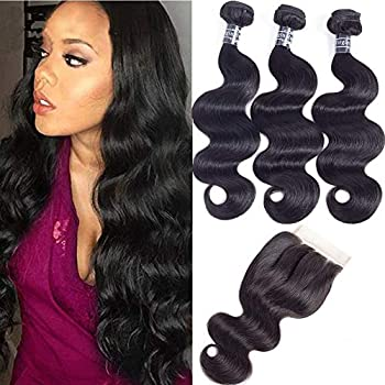 Amella Hair 8A Brazilian Body Wave Virgin Hair 3 Bundles with Three Part Closure  14 16 18+12,Natural Black  100% Unprocessed Brazilian Body Wave Human Hair Weft with Lace Closure Brazilian Body Wave