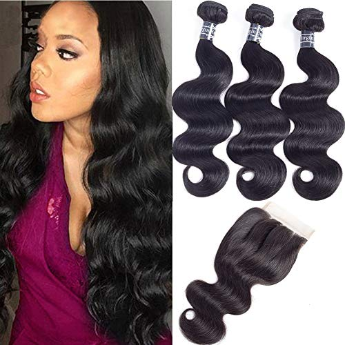 Amella Hair 8A Brazilian Body Wave Virgin Hair 3 Bundles with Three Part Closure (14 16 18+12,Natural Black) 100% Unprocessed Brazilian Body Wave Human Hair Weft with Lace Closure Brazilian Body Wave