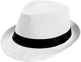 iYBUIA Fashion Design Unisex Trilby Gangster Cap Beach Sun Straw Hat Band Sunhat