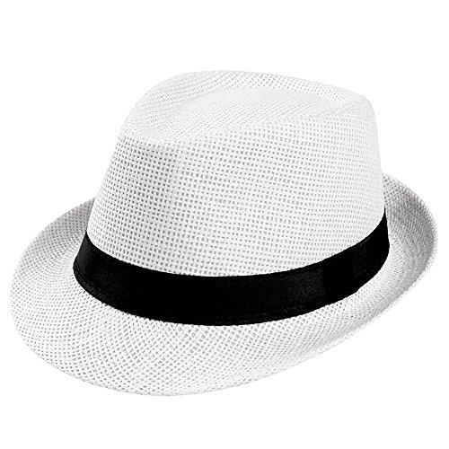 DOLDOA Hut Damen Sommer,Unisex Trilby Gangster Cap Strand Sun Strohhut Band Sonnenhut (Weiß)