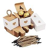 Belle Vous Kleine Geschenkboxen Weiß & Braun mit Herz (50 Stk) - 5,5 x 5,5 x 5,5cm Geschenk Schachtel Box aus Karton Kraftpapier Pappschachteln für Süßwaren, Gastgeschenke, Hochzeit, Party, Geburtstag