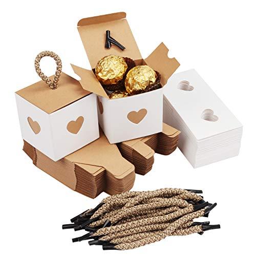 Belle Vous Petite Boite Cadeau Blanche et Marron avec Coeurs (Lot de 50) - 5,5 x 5,5 x 5,5 cm - Boite Papier Kraft pour Anniversaire, Gouter, Naissances - Boite Dragée pour Mariages