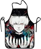 XCNGG Delantal de cocina Kitchen Apron Japanese Anime Tokyo Ghoul Ken Kaneki Bloody Art Bib Aprons Women Men Professional Chef Aprons with Extra Long Ties, Waterproof Waiter Hostess Apron for Cleaning
