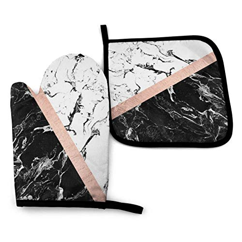 MSGUIDE Chic Black White Marble Color Block Rose Gold Oven Mitts and Pot Holders, 356℉ Heat Resistant Oven Gloves Soft Cotton Lining Gloves for Kitchen, Cooking, Baking, Grilling, BBQ