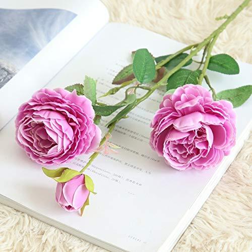 YONGYONGMY Künstliche Blumen 61cm Lange Europäische künstliche Blume 3 Kopf Startseite Silk Pfingstrose Hochzeit Blumen Foreign Rose dekorative Blumen-Partei-Dekor 1pcs (Color : 8)
