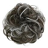 PRETTYSHOP XL Hairpiece Scrunchy Updo Bridal Hairstyles Scrunchie Voluminous Curly Messy Bun Dark Brown Gray Mix G34E