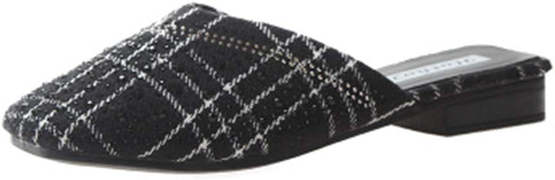 Cdon Womens Plaid Mules Slip-on Dress Slides Backless Flats Slippers