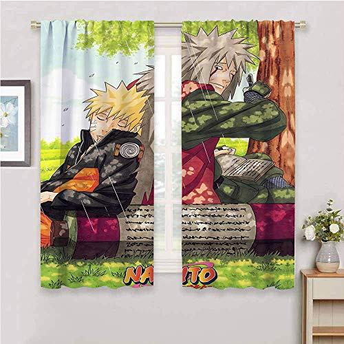 Cortinas para oscurecer la habitación, diseño de anime japonés Naru-to con bolsillo para barra, con aislamiento térmico, para sala de estar, 132 x 213 cm