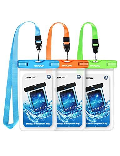 Wasserdichte Hülle, Mpow 3 Stück Wasserdichte Tasche, Handyhülle, Staubdichte Schutzhülle für iPhone 11/iPhone X/XR/ XS/XS MAX/8/7/6splus/Galaxy S20/S9/S8/S7/S7edge/P 0/P20/P10/P8/P9 bis 6,5 Zoll