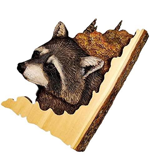 NIDONE Pared decoración Ciervo Cabeza Escultura Ilustraciones artesanales para Regalo Mapache Oso Animal Talla Ilustraciones Colgando de Pared
