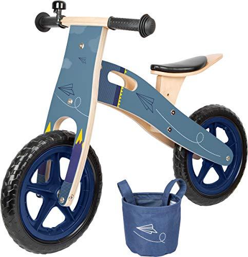 Small foot 11614 Biciclettina Blu Aereo di carta, in legno, i con sedile regolabile e pneumatici gommati