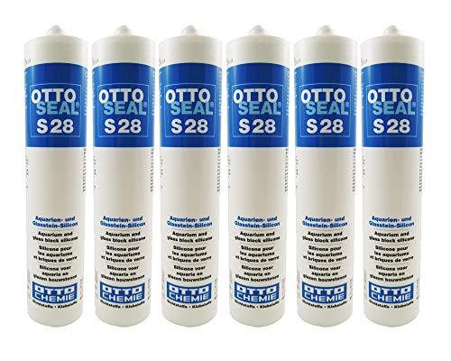 6x Ottoseal S28 Aquariumsilikon,zum Verkleben und Abdichten von Aquarien,Terrarien und Glasbausteinen 310ml TRANSPARENT