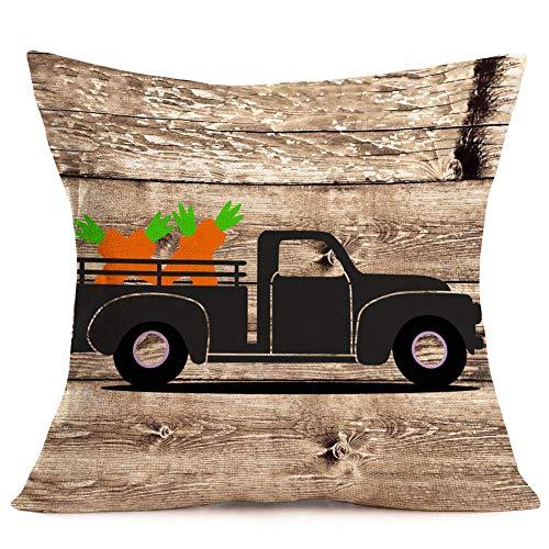 Fundas de almohada retro camión fue cargado con patrón de zanahorias algodón lino fondo de madera rústica fundas de almohada decorativas funda de cojín 45,7 x 45,7 cm (camión y zanahorias)