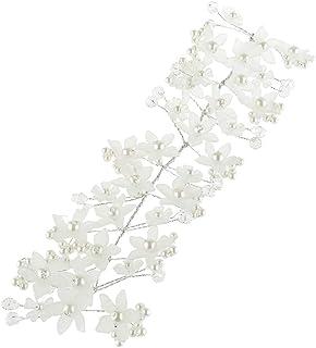 D DOLITY クリスタルパール ヘアクリップ ヘアバンド 花嫁 女の子 ドレス 写真小物 2色選べ - 白