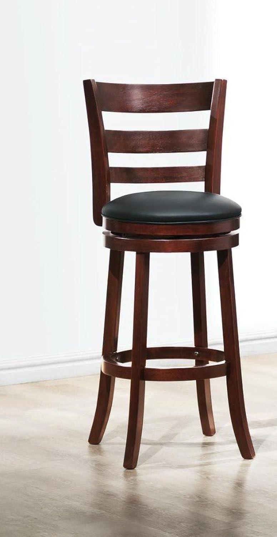 Benzara BM174382 Wooden Swivel Bar Stool with Padded Seat, Brown