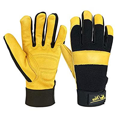 Leather Work Gloves for Gardening/Mechanics/Yard/Motorcycle/Farm, Men & Women