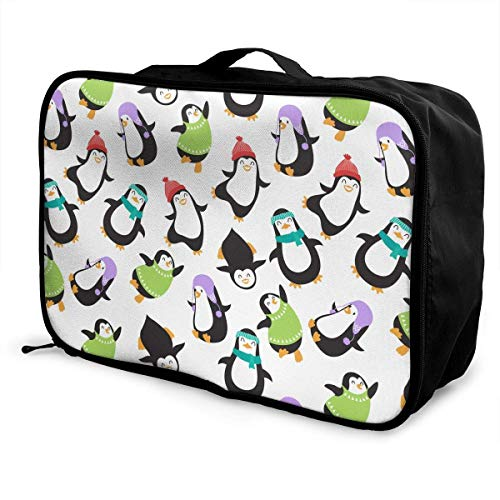 Koffertaschen Travel Luggage Trolley Bag Portable Lightweight Suitcases Duffle Tote Bag Handbag Cute Christmas Baby Penguins Pattern Overnight Bag