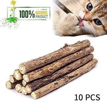 BienBien 10 Pièce Matatabi Baton Chat, Catnip Sticks Cat Jouets à l'herbe à Chat Bio Bois Cataire Mâcher Silvervine Menthe Naturel Chat Jouet Chat Nettoyage des Dents pour Chats Chaton