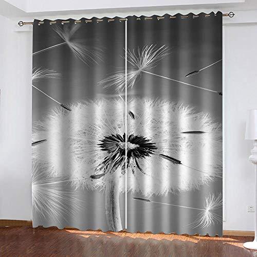 HJLING Vardagsrum supermjuk värmeisolerande ringridå 2 paneler Kreativ maskros 2x W55xL102 (140 x 260 cm) Mörkläggningsgardiner lämpliga för balkong sovrum vardagsrumsfönster