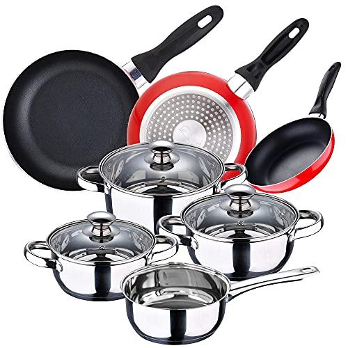 San Ignacio Batería de cocina 7 piezas en acero inoxidable + Juego de 3 sartenes 16 20 24 cm, PK3364
